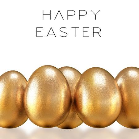 golden eggs: Golden eggs on a white background. Happy Easter