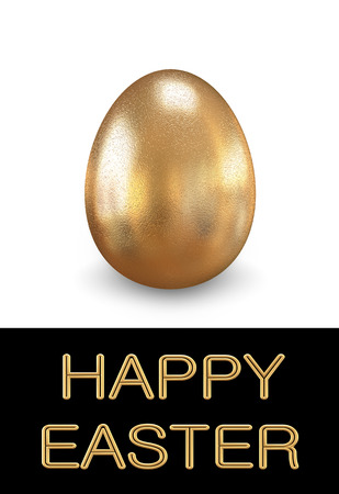 golden egg: Greeting card with Easter. One golden egg.