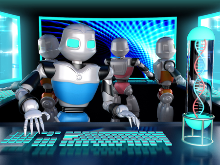 humanoid: Humanoid robots in the interior in front of large screens and illuminated keyboard. 3d render.