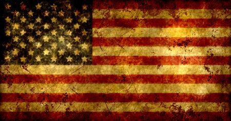 antiqued: Grunge american flag. Vintage national flag USA. Stock Photo