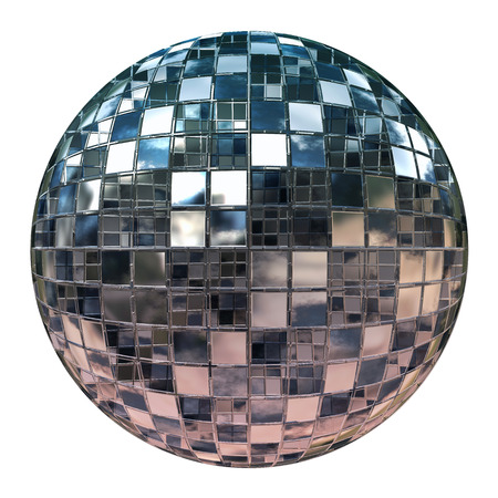 mirror ball: Silver disco mirror ball isolated on white background.
