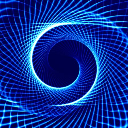 pulsation: Glowing spiral on a blue background. Stock Photo