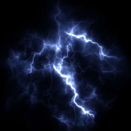 Electric storm. A bright flash of lightning closeup. A high resolution. Stock Photo