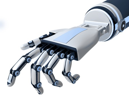 Der Roboterarm auf weißem Hintergrund. Künstliche Intelligenz. 3D-Rendering. Standard-Bild - 58118125