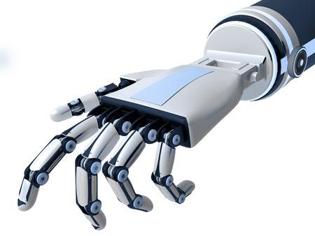 Robotarm op een witte achtergrond. Kunstmatige intelligentie. 3D-rendering.
