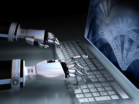 artificial intelligence: Android working at a computer. Artificial Intelligence. 3D rendering. Stock Photo