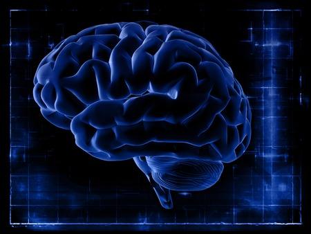 Het onderzoek van de hersenen op het scherm. Hersenen op een donkerblauwe achtergrond. X-ray snapshot.