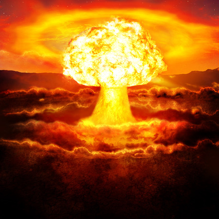 Powerful explosion of the atomic bomb in the desert. Nuclear war. A high resolution.