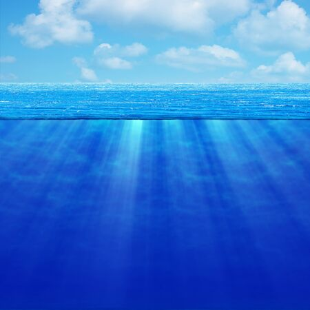 high resolution: Seascape. Deep ocean in good weather. A high resolution. Stock Photo