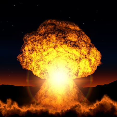 fireballs: Bright blast of the atomic bomb during the night. Stock Photo