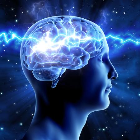 인간과 우주의 관계. 우주 에너지. 파란색 배경에 두뇌 남자. 스톡 콘텐츠