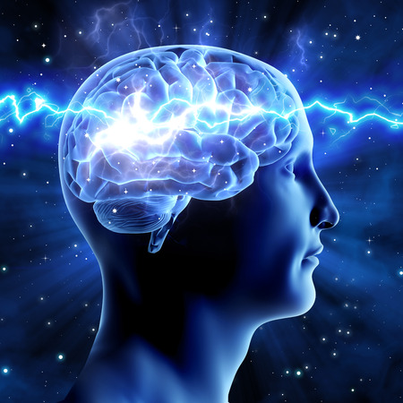and activities: The relationship of man and the universe. Cosmic energy. Brain man on a blue background. Stock Photo