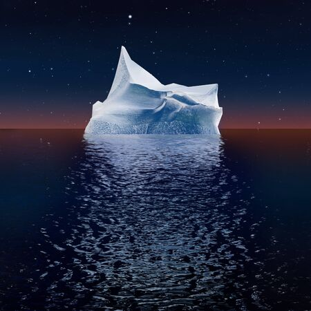 tip of iceberg: Lone iceberg in the ocean at sunrise on the background of a starry sky. A high resolution. Stock Photo