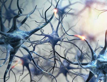 Rete neurale. connessioni cerebrali neuroni. illustrazione 3D.