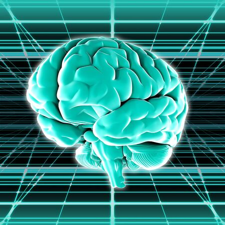 Virtual surround the brain image in the digital space. A high resolution. Stock Photo