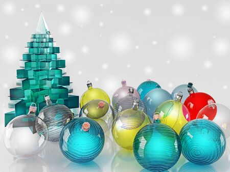 virid: Christmas decorations. Glass colored balls on a light background. Delicate Christmas card.
