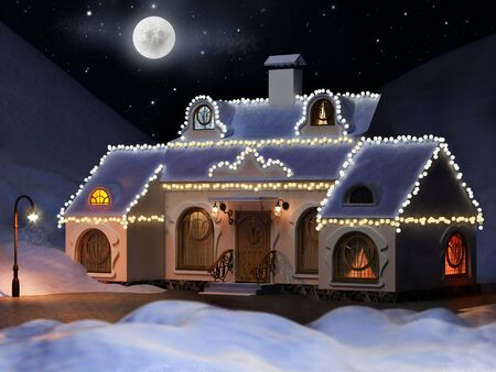 facade: House in the snowy mountains decorated with garlands New Years Eve. A high resolution. 3d illustration. Stock Photo