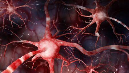 stimulus: Brain Neural Communication closeup. Horizontal image of high resolution. 3d illustration. Stock Photo