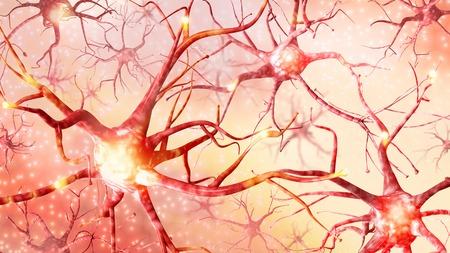3D 그림입니다. 뇌에서 뉴런의 펄스. 높은 해상도.