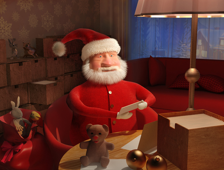 getting ready: Santa Claus is getting ready for the New Year. 3D illustration. A high resolution.