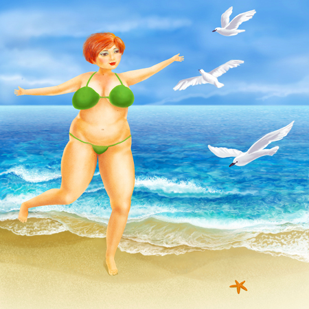 busty: Red-haired girl in a swimsuit on the beach. Gulls and the sea. Amusing busty plump woman. A high resolution.
