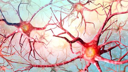 Illustration 3D Fond de réseau neuronal. Une haute résolution. Banque d'images - 90673455