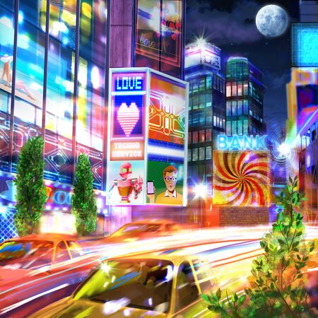 Picturesque picture of a business city at night. Stock Photo