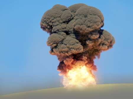 Powerful destructive nuclear explosion. 3d rendering.