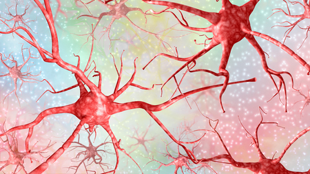 Horizontal 3d illustration of red neurons on a colored background.