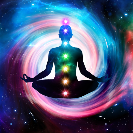 Illustration man sitting in pose of lotus. Meditation on outer space background with glowing chakras.