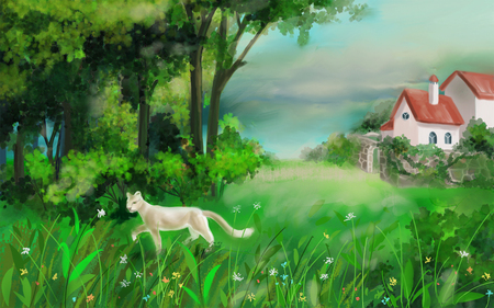 Painted summer landscape. White cat and a house in nature.