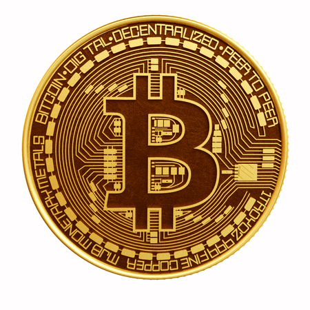 Bitcoin closeup isolated on white background.