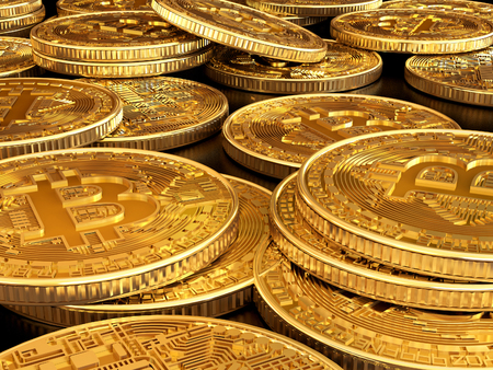 Cryptocurrency. Gold coins bitcoin.