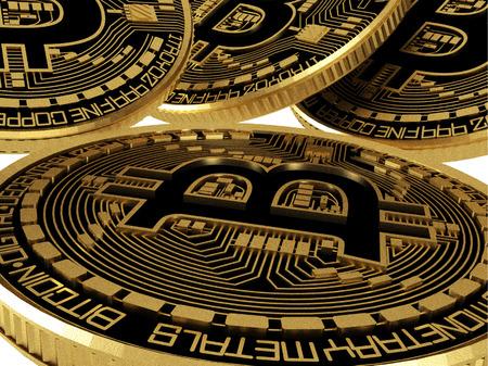 Digital currency. Souvenir bitcoin.