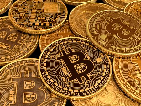Many souvenir bitcoins on the table.
