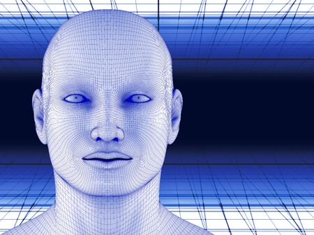 3d illustration. Robotic wireframe concept of head and space. Global digital network. Artificial Intelligence. 스톡 콘텐츠