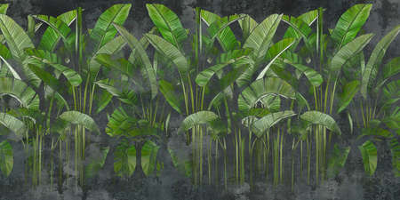 Tropical leaves on concrete dark background. Great choice for mural, card, postcard, wallpaper and photo wallpaper. Design for modern and loft interiors.