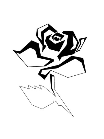 Straight-line acute-angled stylized image of a rose flower. A blossoming rosebud with one leaf on a short stem. Raster illustration. Black image on white background. Stock Photo