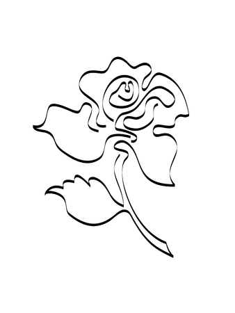 Curvilinear stylized image of a rose flower. A blossoming rosebud with one leaf on a short curved stalk. Raster illustration. Black image on white background. Imagens - 76702615