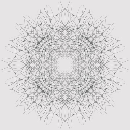 Centripetal tracery ornamental composition. Decorative ornate pattern of curved lines. Raster illustration. A dark gray image on a light gray background.