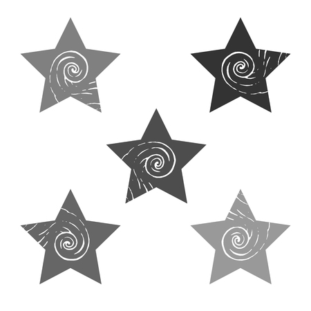 A set of stars with a curling element. Gray multi-colored light and dark shapes with a pattern. Vector image. The figures are arranged on a white background.
