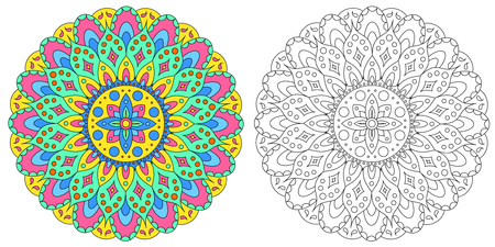 Seth from the Indian mandala. Black and white sketch of the mandala. Painted mandala. The flower of the mandala. Template for anti-stress coloring. Element for design, print for fabric. Vettoriali