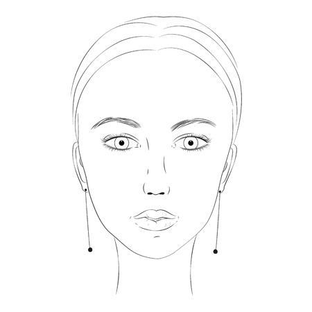 Portrait noir et blanc d'un gros plan de jeune fille. Beau visage de la fille. Portrait d'une femme Fille avec de grands yeux. Lèvres pleines. Croquis du visage d'une femme devant. Modèle pour la coloration. EPS 10 Banque d'images - 91247914