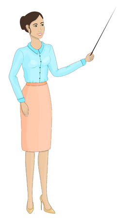 Young girl in a business style. Lecturer, teacher, news anchor, economic commentator. Beautiful young woman. Illustration