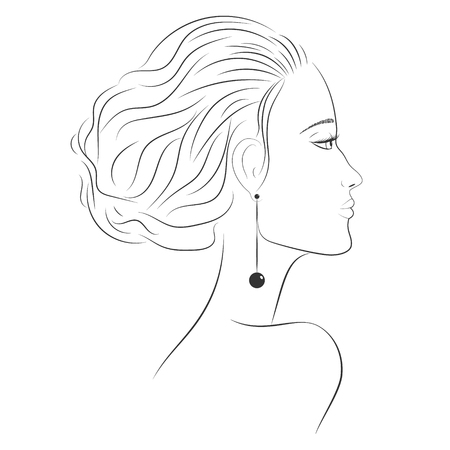 The face of a beautiful girl in profile. Beautiful woman. The face of a woman in profile. Contour of face. Straight nose, plump lips. Sad girl. Sketch of a portrait of a young woman in a profile. EPS 10