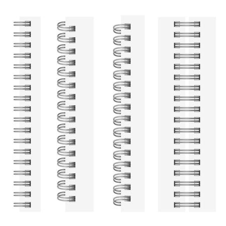 Wektor zestaw realistycznych obrazów (makieta, układ) srebrzystych spiral na notatnik: widok z góry, widok perspektywiczny, spirala otwartego notatnika. Obraz jest tworzony za pomocą siatki gradientu.