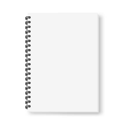 Realistic vector image (mock-up) of an open notepad isolated on white, top view. White sheets of notebook, fastened with a black spiral, shifted down and to the right, 3d. Vector EPS 10.