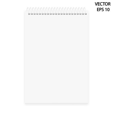 Vector realistic image (mock-up, layout) of a notepad located vertically, top view. White sheets of paper stapled with a white plastic spiral, 3d. The image was created using gradient mesh. EPS 10.