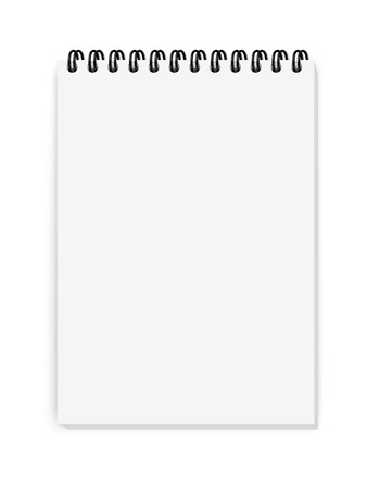 Vector realistic image (mock-up, layout) of a notepad, located vertically, top view. White sheets of paper, fastened with a black spiral, A7 (105 mm * 74mm).
