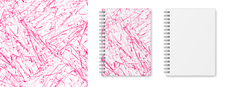 Realistic vector image (layout, mock-up) of a hardcover notebook with a silvery spiral attached, top view, 3d. Cover design of notebook with seamless texture of pink and white. Vector EPS 10.